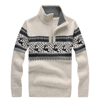 Brand New Mens Christmas Sweaters Stand Collar Fashion Deer Jacquard Zipper Wool Thicken Casual Sweater For Men Pullovers BF7731