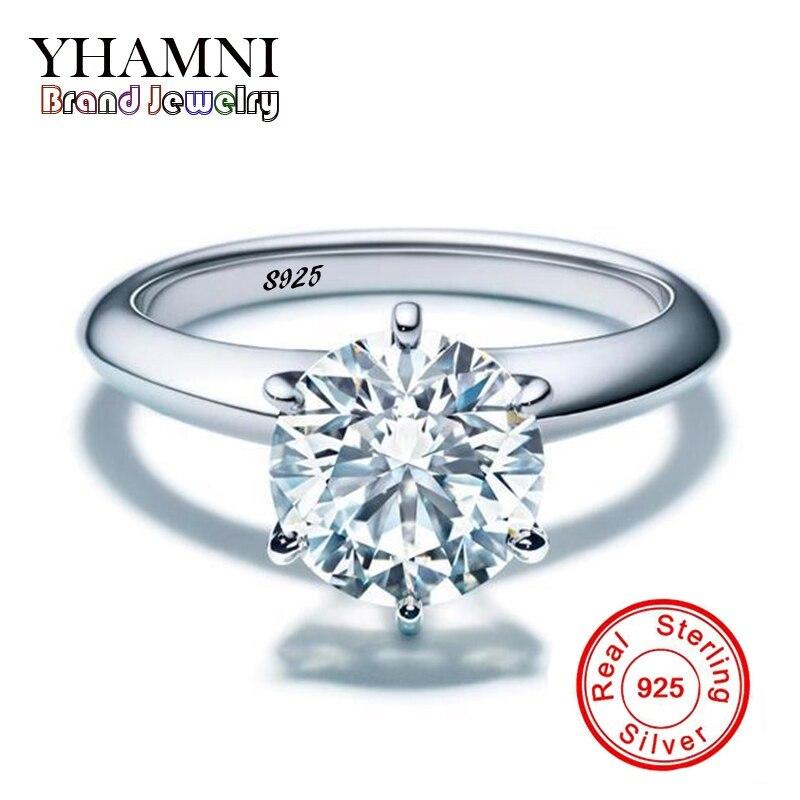 YHAMNI Luxury 100 original 925 Silver Jewelry font b Rings b font Set SONA CZ Diamant