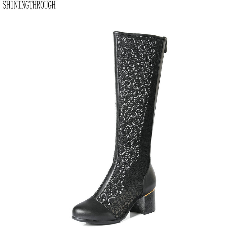 2018 Summer new fashion boots cut-outs knee high boots pu flock leather square heels sexy women cool boots large size 34-43