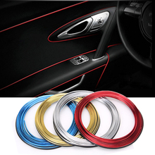 5M Car Interior Mouldings Trim Strip Sticker Car Center Console Decoration Door Auto Brand Car-Styling 3D Internal Accessories