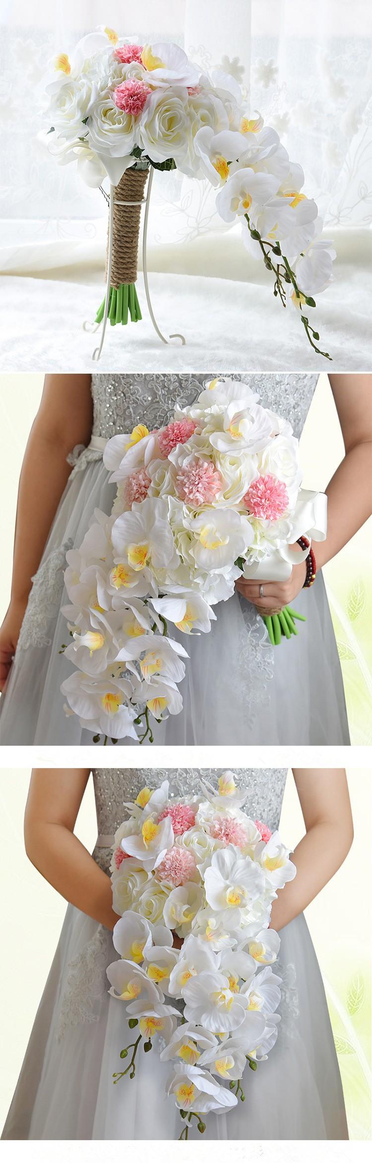 Artificial Waterfall Droplets Wedding Bouquets For Brides White Flowers Bridal Brooch Bouquets Ramo De Novia 2017
