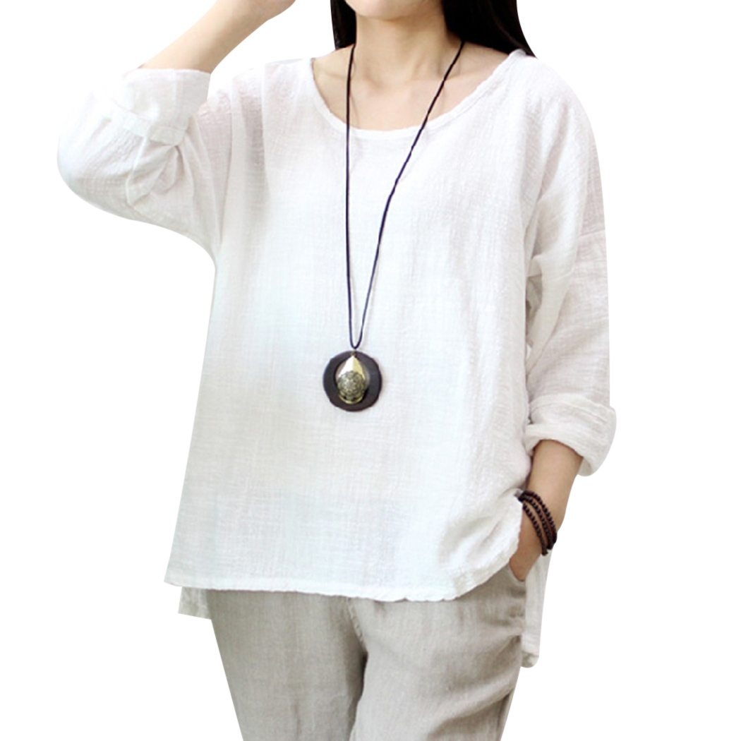 Round Neck Summer Tops 2018 Summer Cotton Linen Oversized Tee Shirts For Wome Half Sleev ...