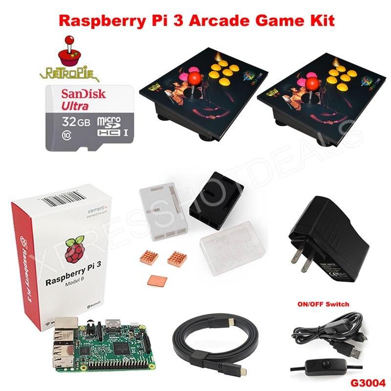 Raspberry pi 3 model b case 32g 2 player joystick retropie for 2 case kit di storia