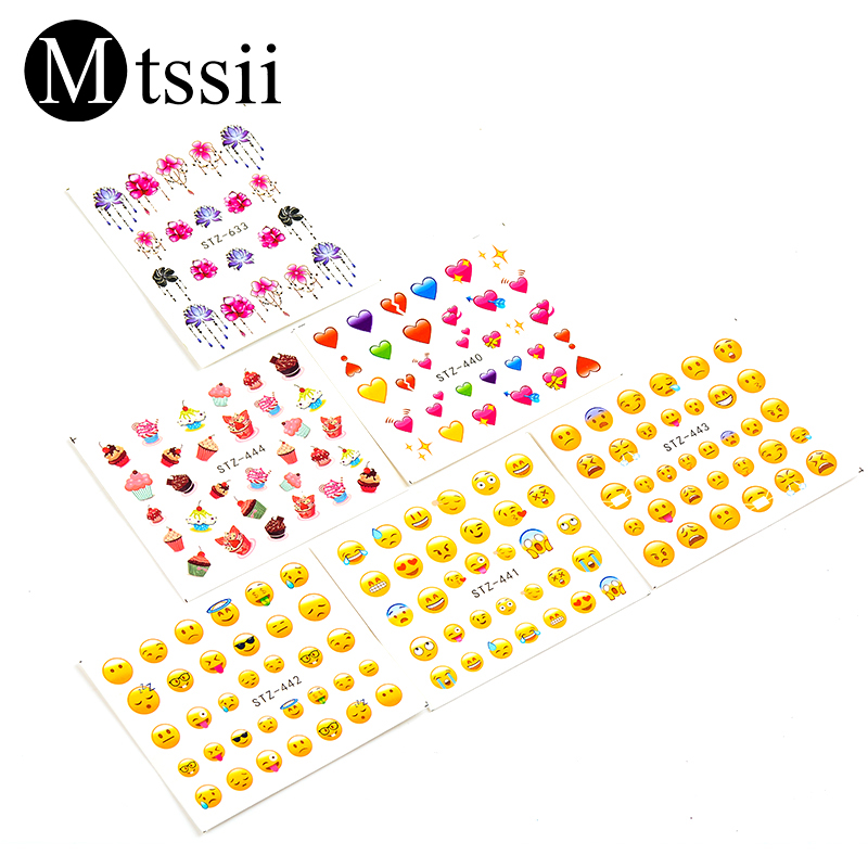 Mtssii 1 Sheet Face Emoji Water Decals Various Expression Nail Art Water Decals Nail Transfers Sticker