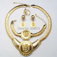 Free Shipping Wedding Jewelry Sets Gold Color Jewelry Sets Lion Head Jewelry Sets
