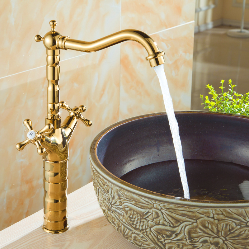 Vidric European copper-plated table basin faucet double handle single hole hot and cold mixer tap kitchen faucets wash basin tapVidric European copper-plated table basin faucet double handle single hole hot and cold mixer tap kitchen faucets wash basin tap
