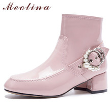 Meotina Autumn Ankle Boots Women Boots Patent Leather Zip Thick Heel Short Boots Pearl Buckle Square Toe Shoes Lady Winter 33-40 цены онлайн