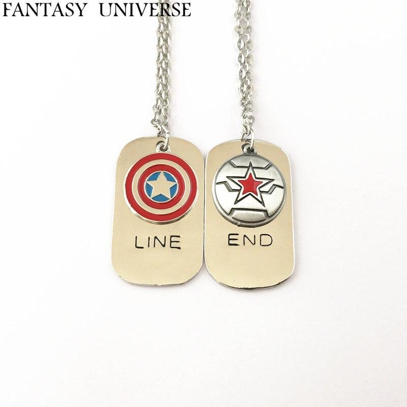 FANTASY UNIVERSO Freeshipping 1 pz Capitan America e Inverno soldiercharm collana NFHNEJ01