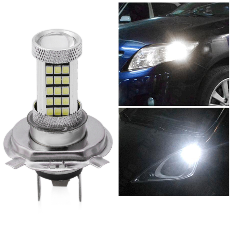 DC 12V H4 2835 63 LED 6000K Car Projector Fog Driving Light Bulb White Car Light Source new 1pc h4 100w led 20 smd projector fog driving drl light bulbs hid 6000k white light c45