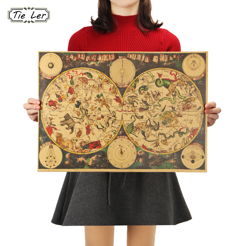 TIE LER Vintage Style Retro Kraft Paper Poster Gifts Ancient Zodiac Constellation Map Poster Wall Sticker 51.5X36cm