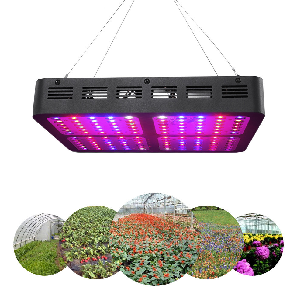 1200W LED Grow Light Full Spectrum, Double Chips 120 LEDs Optical Lens Growing Lamp with UV IR for Indoor Plants Veg and Flower