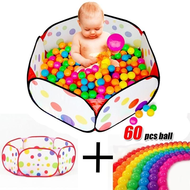 60 Mehka plastična Ocean Ball & 1pcs bazen za Baby Kid Pit Toy Plivanje na prostem Secure Fun igrača