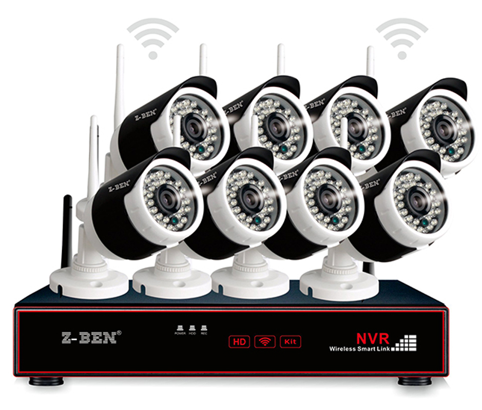 Z-BEN 2.4G 8CH Wireless WIFI Camera Surveillance Sets 720P 1.0MP Waterproof IP Cam Lens CCTV Security Remotely Monitor With NVRZ-BEN 2.4G 8CH Wireless WIFI Camera Surveillance Sets 720P 1.0MP Waterproof IP Cam Lens CCTV Security Remotely Monitor With NVR