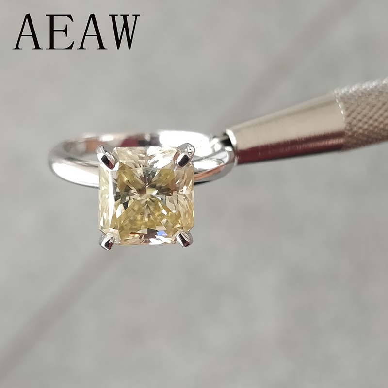 1 Carat ct 5.5mm Off White Yellowish Cushion Cut Engagement&Wedding Moissanite Diamond Ring in Platinum Plated Silver Rings