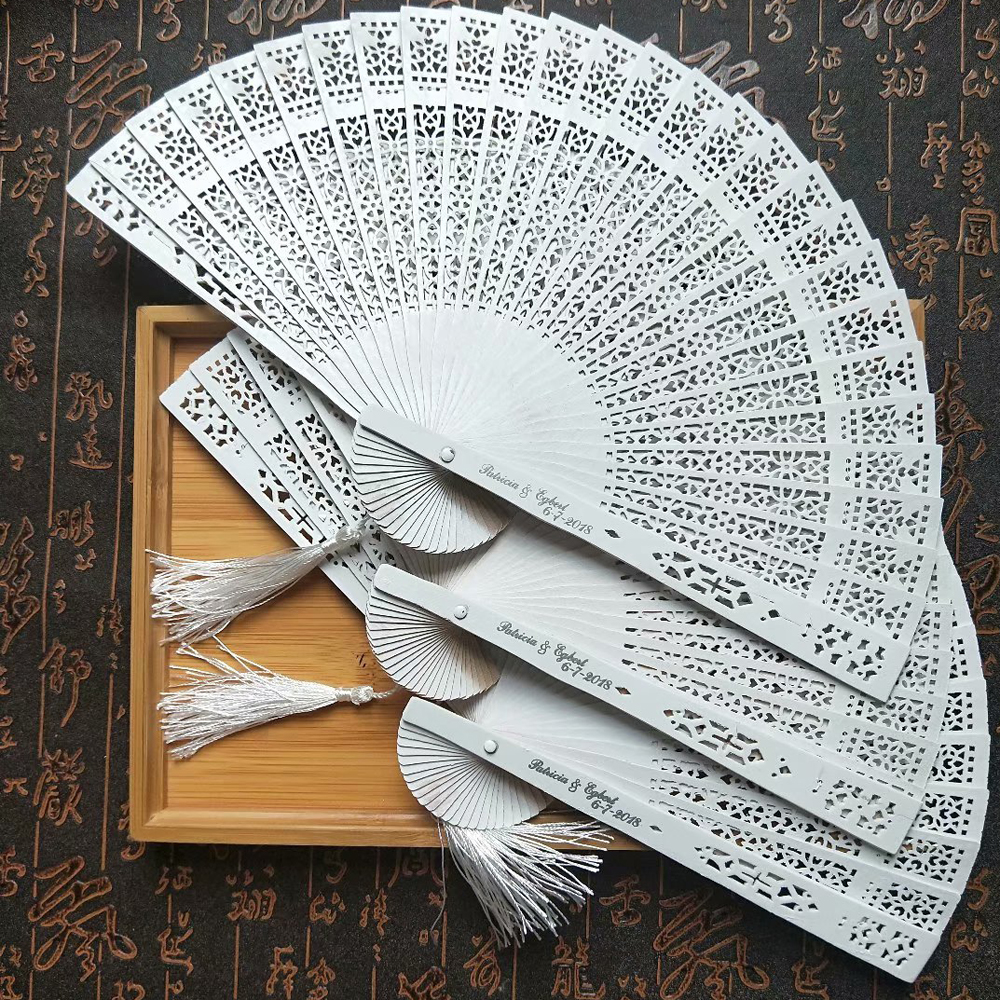 50Pcs White Hand Fan Wood Personalized Wedding Gift Favor For Guests Custom Engagement Party Gifts Print