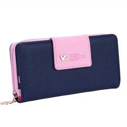 Marca das senhoras bolsas de couro carteira feminina longo moeda bolsa carteira titular do cartão carteira colorida embreagem sacos femininos 2019