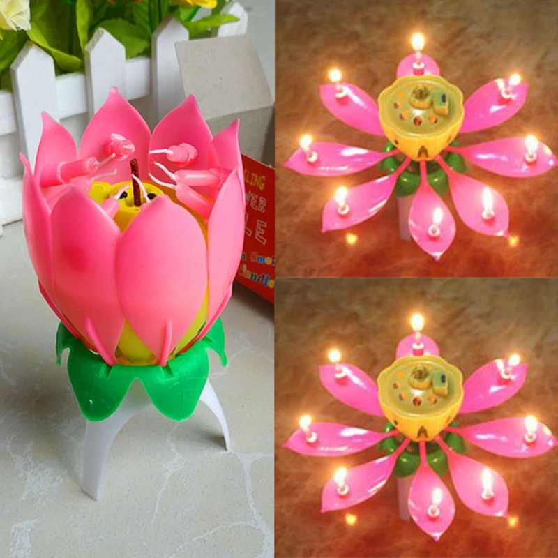 Cake Candle Musical Candle Lotus Flower Party Gift Art Happy Birthday Candle Lights Party DIY Cake Decoration Kids Candles Wax
