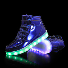 KINE PANDA USB Charging Led Luminous Glowing Sneakers for Children Shoes With Light up Kids Girls Boys Boots Women Men 25-42 kids shoes led glowing sneakers children 7 colors light up luminous sole girls boys casual shoes kids usb charging sneakers