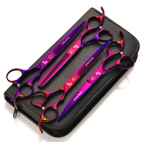 7inch Brand Dog Shears Hair Cutting +Curved+Thinning Scissors With Comb Bag Professional Japan 440C Pet Grooming Scissors Set