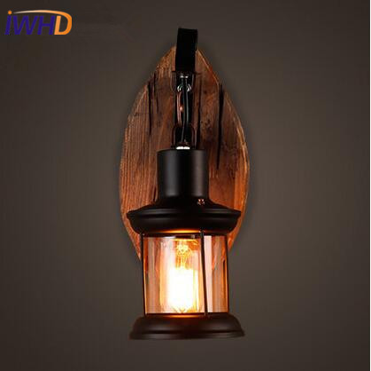 купить IWHD Wooden Loft LED Wall Light Retro Industrial Vintage Wall Lamp Bedside Sconce Fixtures Home Lighting Arandela Bathroom Light по цене 4912.14 рублей