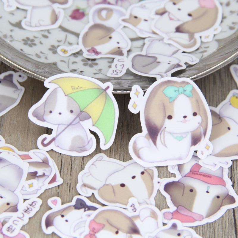New 40 Pcs Cute Little Milk Dog For Phone Car Label Decorative Stationery Stickers Scrapbooking DIY Diary Album Toy Sticker