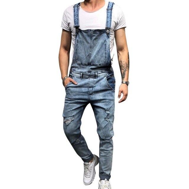 f2bd158483f41 Puimentiua 2019 moda de Hombre Vaqueros monos calle cuero agujero Peto  Denim para hombre Pantalones de