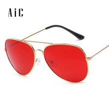 AiC Fashion Ocean Pilot Sunglasses Women Brand Metal Frame Yellow Sungl