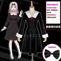 Japan Anime Kaguya sama: Love Is War Chika Fujiwara Cosplay Costume Outfit Halloween Party Women Girl Uniform Dress Headwear Set