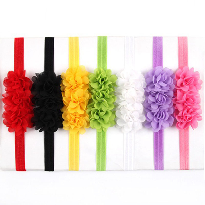 Girls hair accessories Kids cloorful flower headband bandeau bebe bandeau chiffon Summer style Little girl head band 10pcs HB330 bebe girls flower headband four felt rose flowers head band elastic hairbands rainbow headwear hair accessories