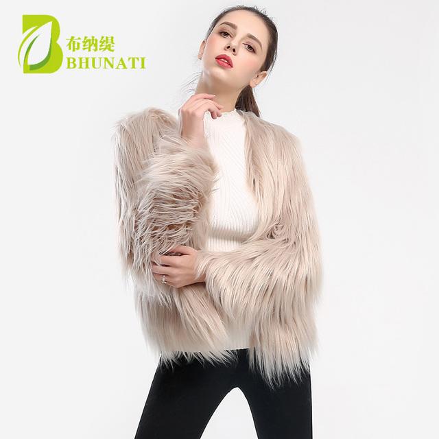 2018 new winter faux fur coats jacket for women long sleeve fashion elegant female autumn winter outwear fuffly fake fur coat