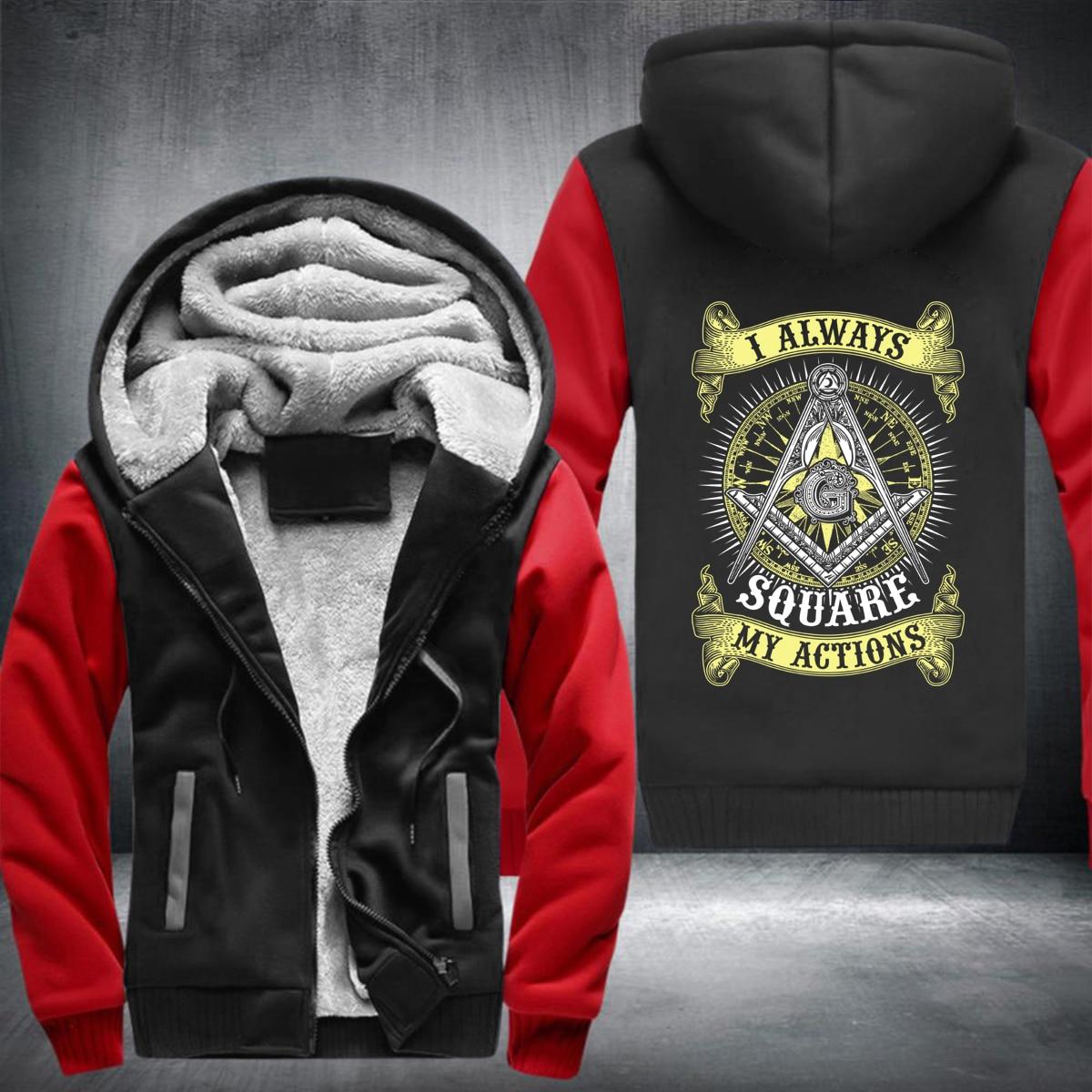 new i always aquare my actions sweatshirt Winter Men Thick Hoodies Patchwork Sweatshirt Zipper Fleece Tracksuit