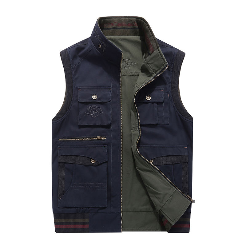 AFS JEEP Vest for Men Multi pockets fishing hunting photography Military Jacket Brand Vest Reversible Waistcoat Plus Size 5XL
