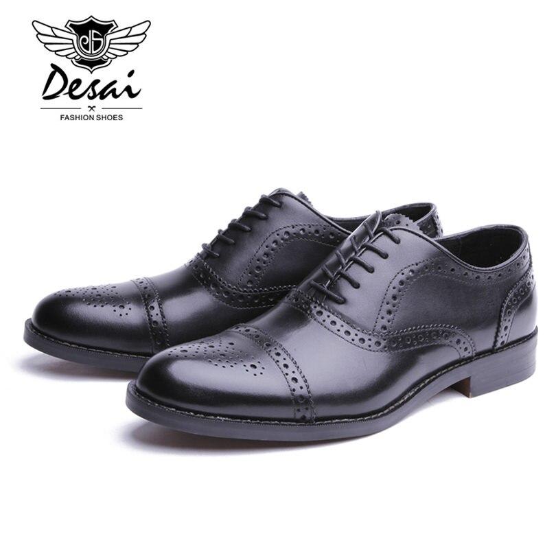 Desai marca masculina de couro genuíno oxfords sapatos masculinos estilo britânico esculpida brogue sapato laço up bullock negócios vestido sapatos apartamentos - 5