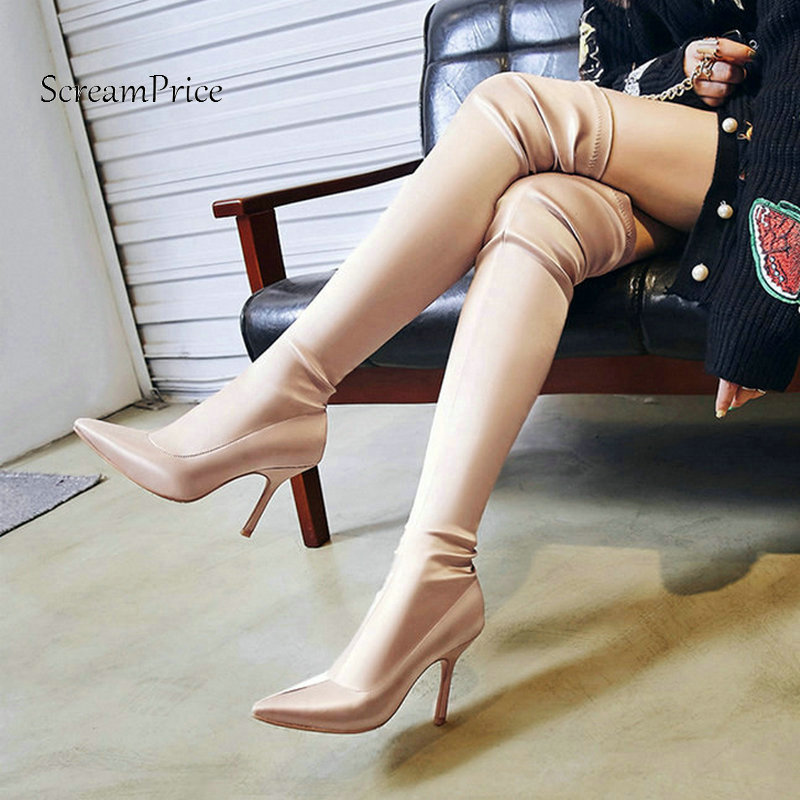 Sexy Woman Thin High Heel Over The Knee Boots Fashion Pointed Toe Party Thigh Boots Woman Stretch Black Purple Apricot