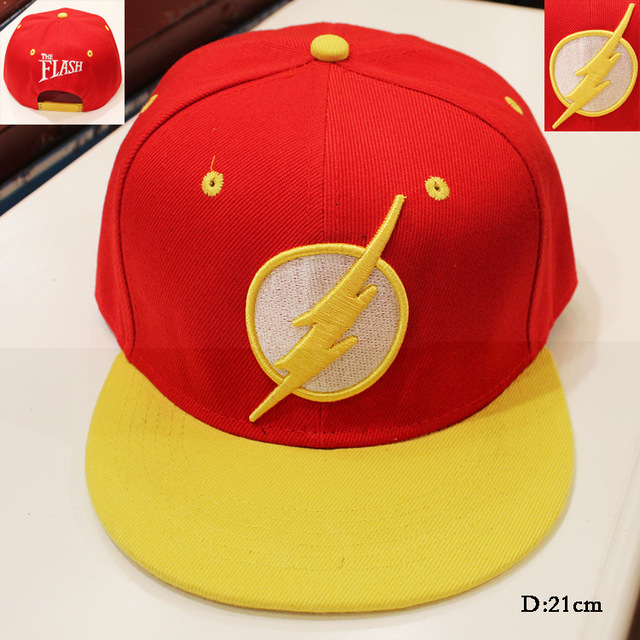 2017 The Flash hip pop hat anime red black yellow cap COTTON girls boy baseball hat friend gifts CA273