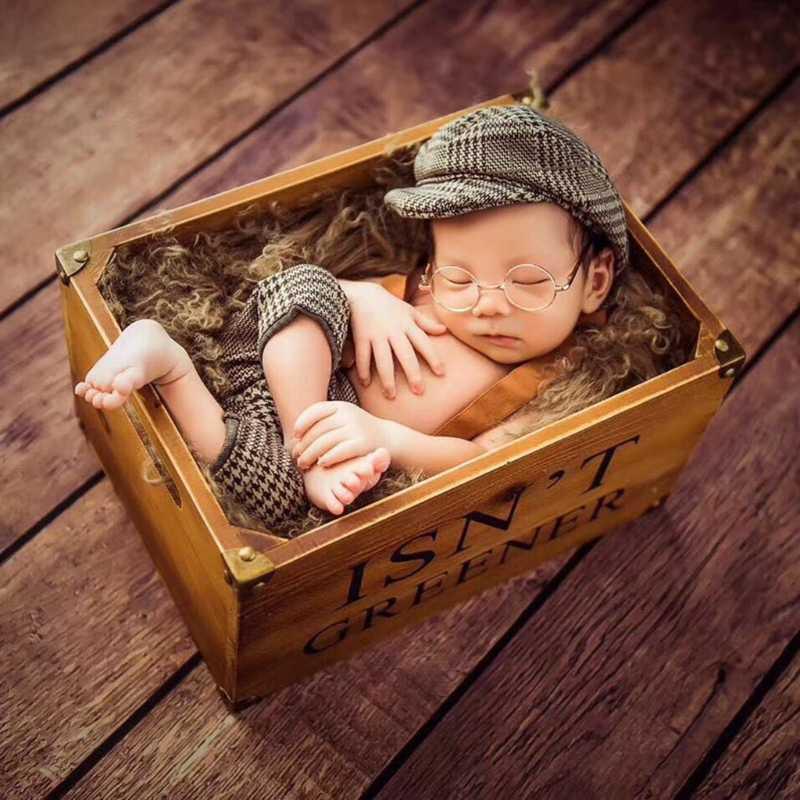 ¡Novedad de 2019! Conjunto de pantalones y sombreros largos, accesorios para accesorios de fotografía recién nacido, traje a cuadros para bebé pequeño Caballero
