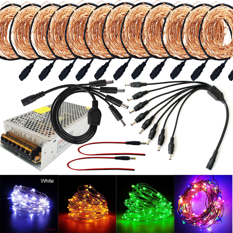 90m 100M 110M 120M LED DC12V Micro Rice Wire Copper Fairy String Lights Party DC female connector +12V 10A Led power supply