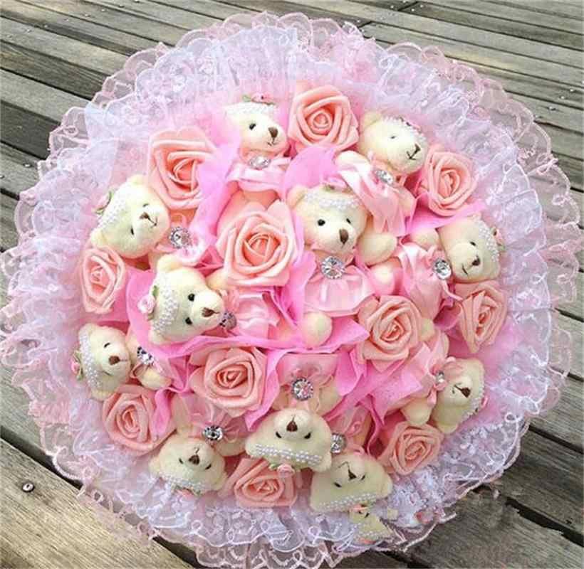 Модные креативные Мультяшные цветы букет чучело Плюшевые игрушки с имитацией роз День Святого Валентина/День рождения/свадебный подарок