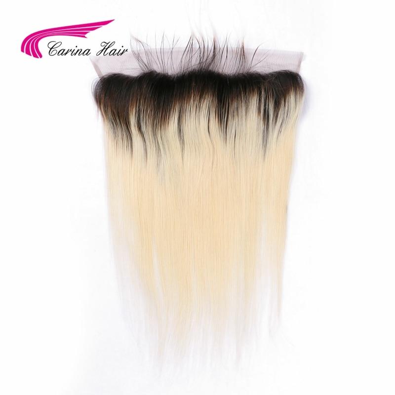 Carina Hair 1b / 613 13 * 4 Lace Frontal Closure Svart Rødder Bleached Knots Natural Hairline Brasilian Remy Human Straight Hair