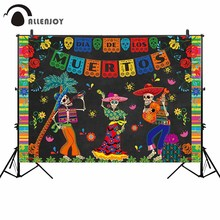 Allenjoy Dead day photography backdrop guitar sing colorful papers flower background photo studio party photocall custom decor