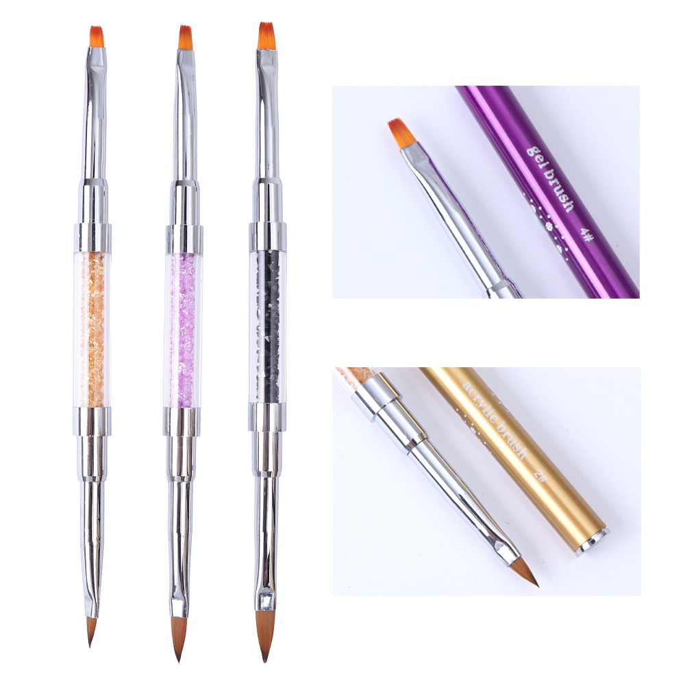 1pcs Nail Brushes Dual-Head Gel Polish Extension Acrylic Paint Brush Sharp Flat Pen Diamond Handle Nail Art Manicure Tools BE820 2017 new arrival melanin letter embroidery baseball cap women snapback hat adjustable men fashion dad hats wholesale