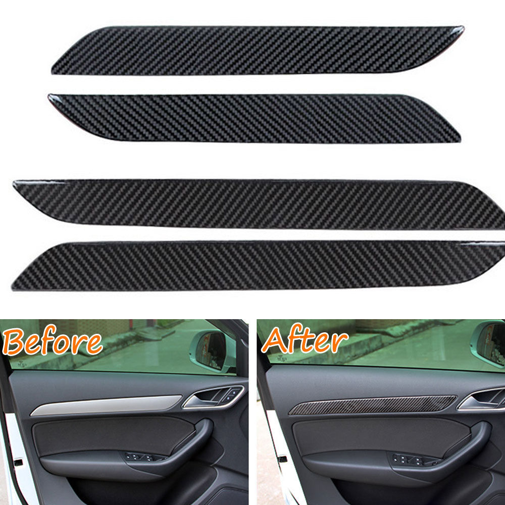 BBQ@FUKA 4pcs Carbon Fiber New Car Interior Door Panel Decor Frame Trim For Audi Q3 2013-2016 Car inner decoration strips epr car styling for mazda rx7 fc3s carbon fiber triangle glossy fibre interior side accessories racing trim