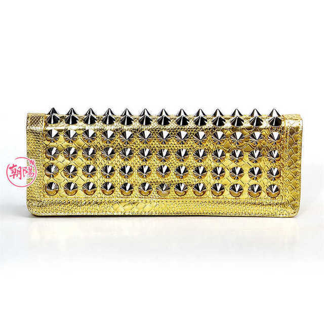 eb2797 pu clutches bags with rivet applique in size 28cm*10cm*3cm