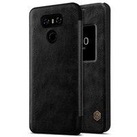 NILLKIN LG G6 coque Telefonu Kılıfları Qin Serisi Görünüm pencere Deri Akıllı Çanta Kılıf LG G 6 için Kapak-siyah