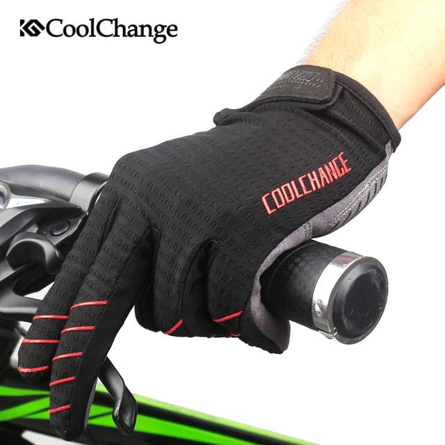 Coolchange luvas de ciclismo dedo cheio luvas de bicicleta tela sensível ao toque à prova de vento esportes homem mulher bicicleta esponja luva à prova de choque 5