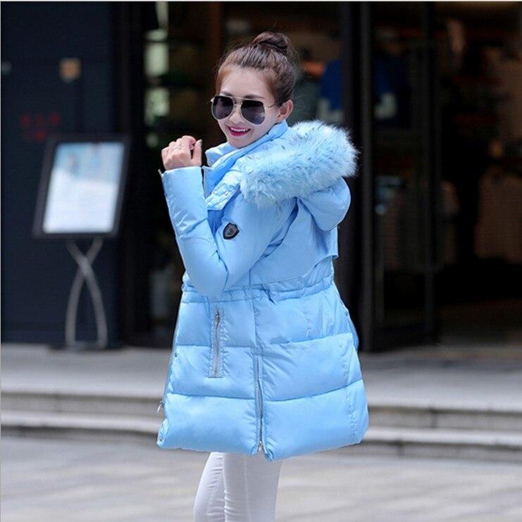 1PC 2015 Winter Jacket Women Thickening Cotton Padded Coat Fur Hood Parka Women Manteau Femme Y0917-100D1