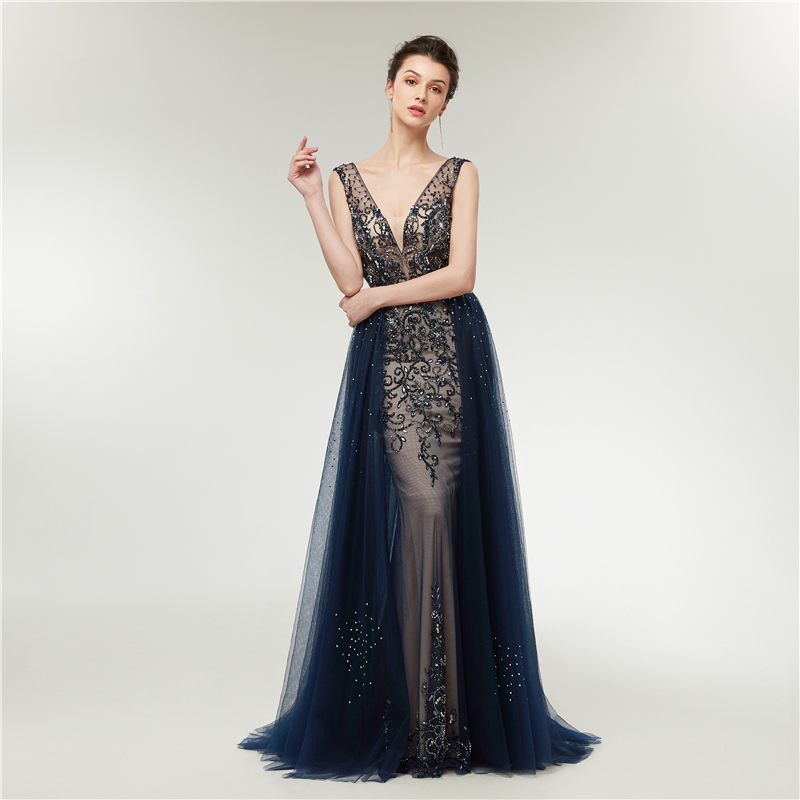 JaneVini Luxury Beading Crystal Long Bridesmaid Dresses Sexy Deep V Neck  Backless Sweep Train Illusion Tulle Mermaid Prom Gowns c8709a76a67d