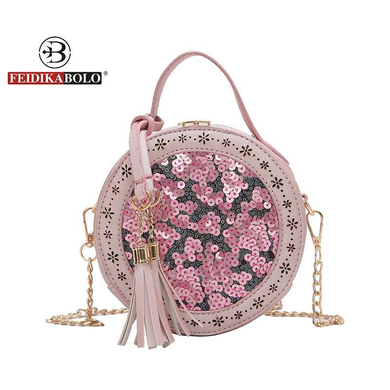 New Women Crossbody Bag Female Leather Round Shape Shoulder Bag Lace Messenger Bag for Ladies Circular Leather Messenger Bags
