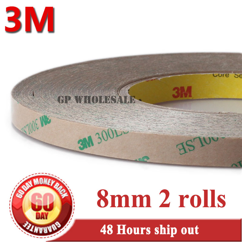 2pcs 8mm*55m*0.17mm Strong Sticky Two Sides Adhesive Tape For Lcd Screen, Lace, Fake Nai,l Wig Hair Extension, 3m 300lse Refreshing And Enriching The Saliva
