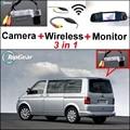 3 in1 Câmera Sem Fio + Receptor + Monitor Espelho Especial DIY Sistema De Estacionamento Para Volkswagen VW Transporter T5 Multivan Caravelle